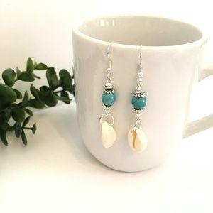 Turquoise Seashell Dangle Earrings